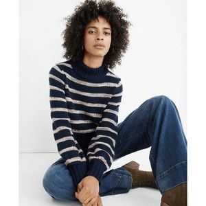 Madewell Striped Metcalf Mockneck Sweater